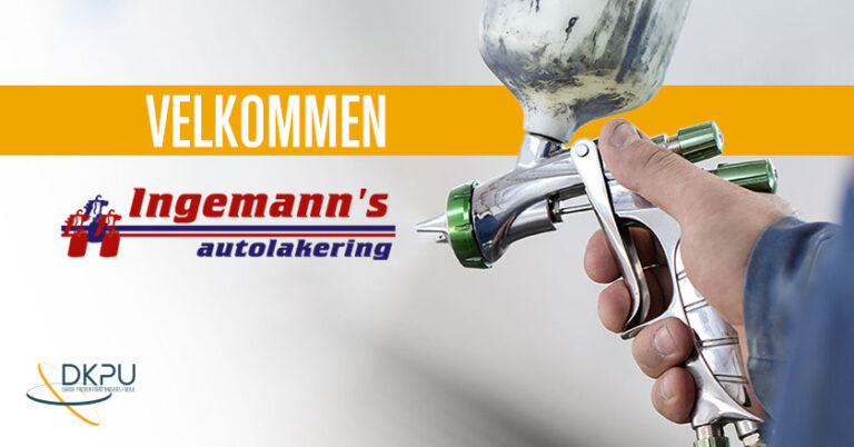 Billedet viser en autolakerer og logoer fra DKPU Ingemanns Autolakering